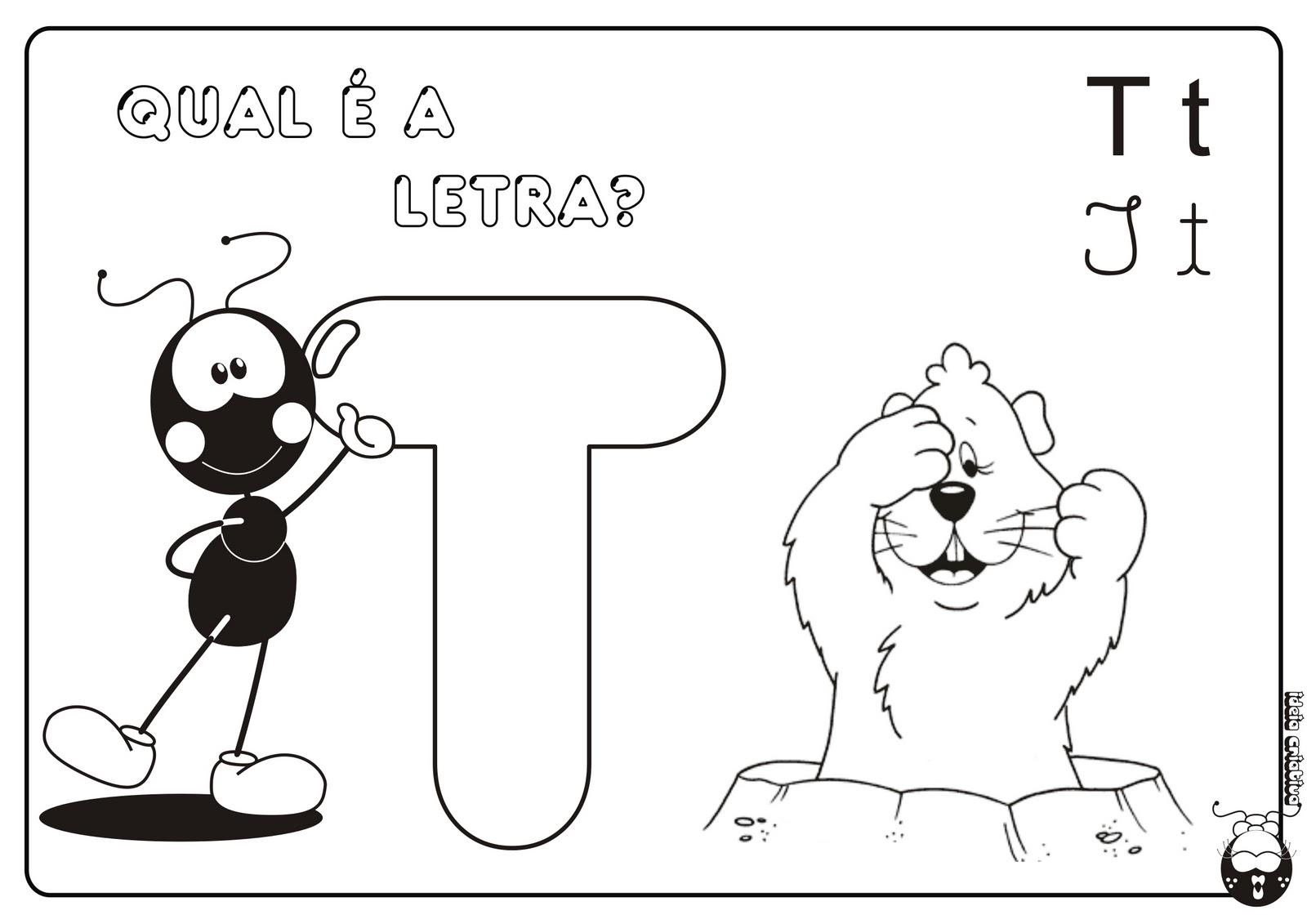 Alfabeto Smilinguido 4 tipos de letra para Baixar Grátis Letra t