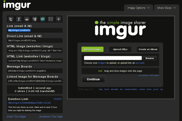 Imgur, the simple image sharer, screenshots after upload