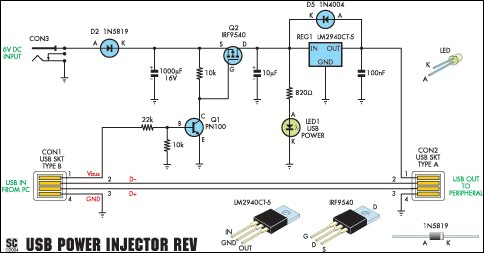 USB Power Injector For External Hard Drives Circuit