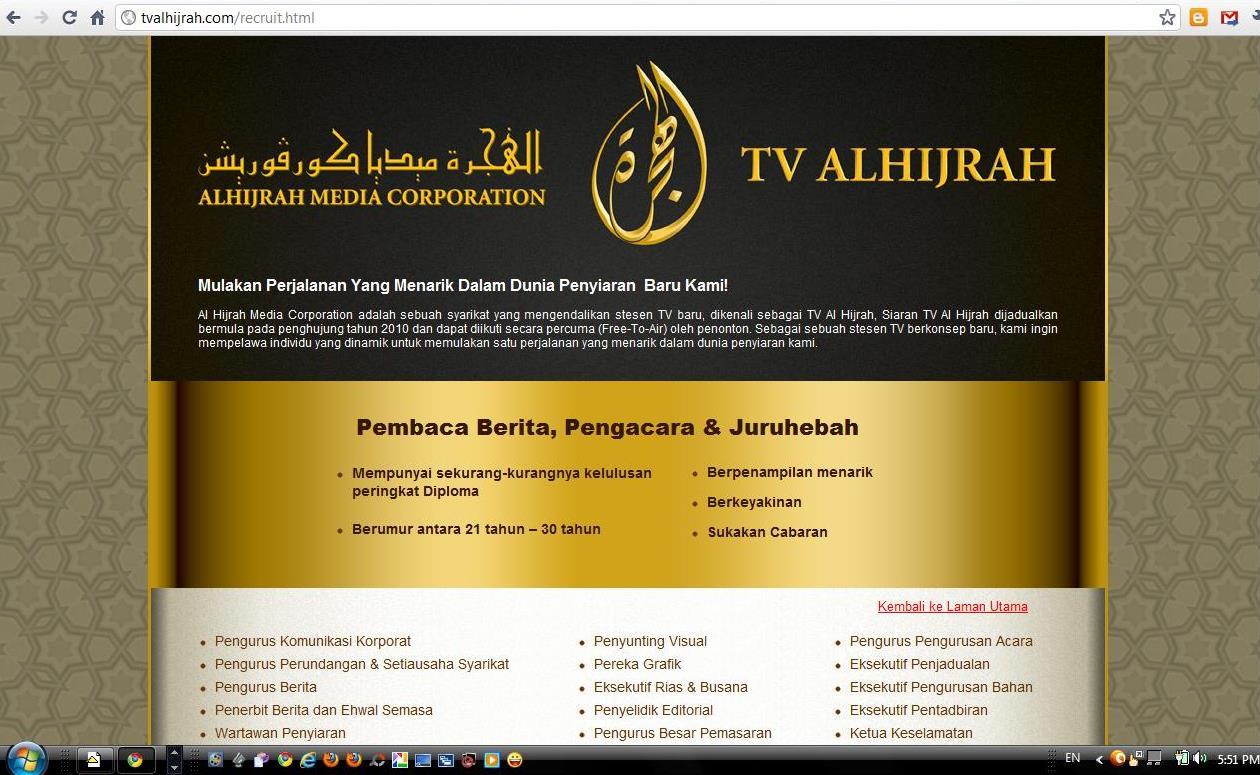 tv alhijrah Peluang kerjaya di tv- alhijrah mereka yang berminat boleh segera memohon kerja kosong terkini di tv alhijrah 21 kekosongan untuk diisi.
