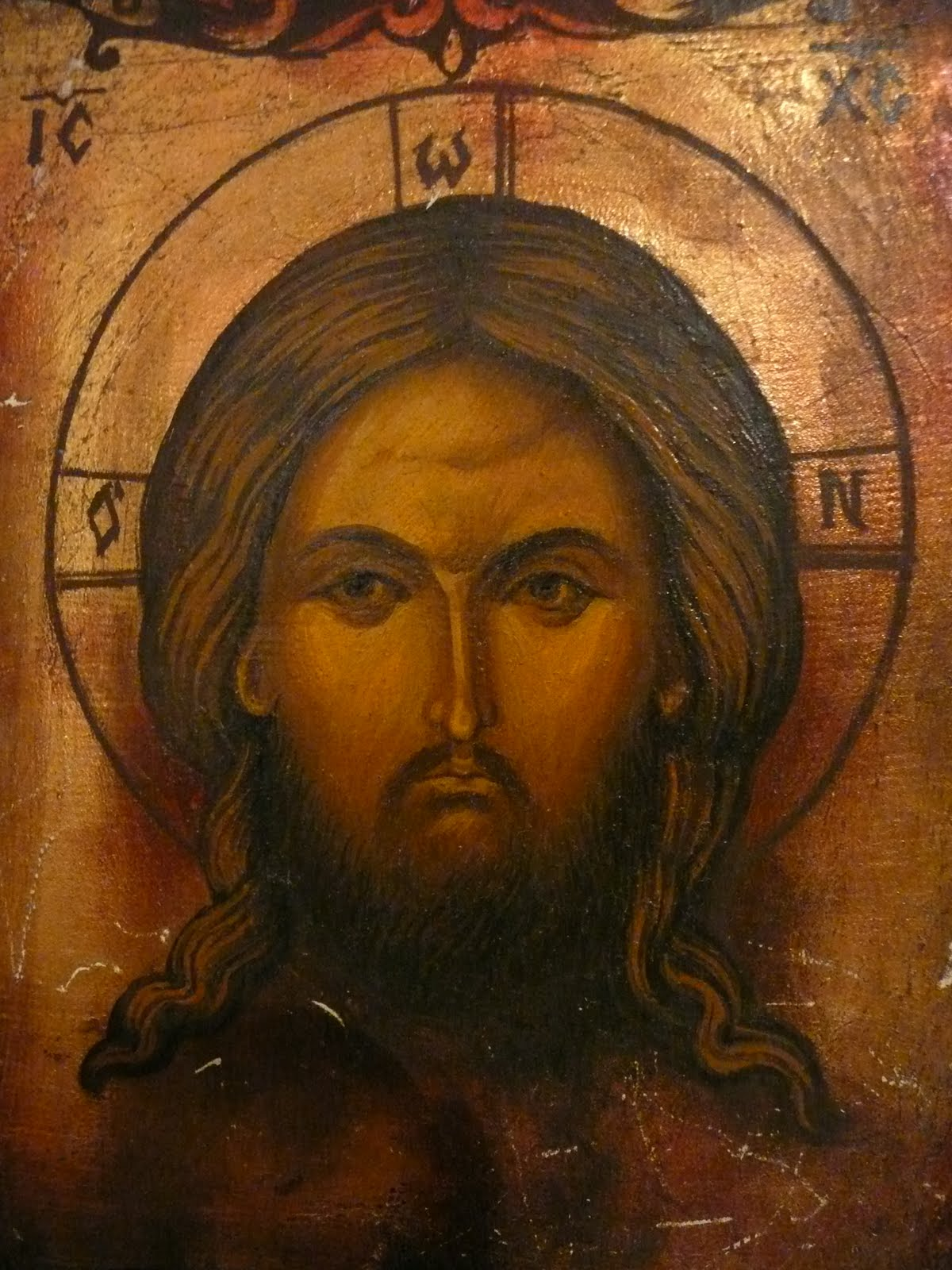 Oil painting on wood jesus christ