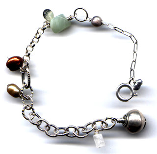 pearl, serpentine, moonstone and sterling silver