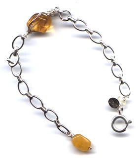 citrine, yellow serpentine and sterling silver