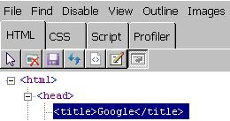 HTML tag in developer toolbar in IE 8