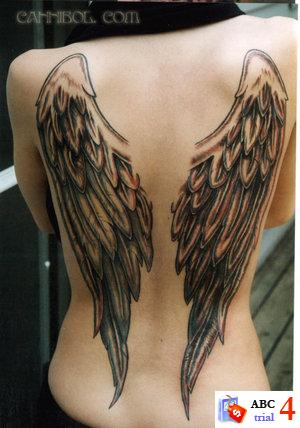 angels tattoo. Full Back Wings Angel Tattoos