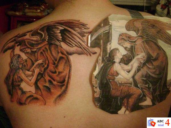 Angel Men And Women Tattoos Desaign