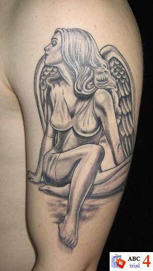 angel tattoos on arm. Beautiful Angel Women Tattoos Desaign On Arm