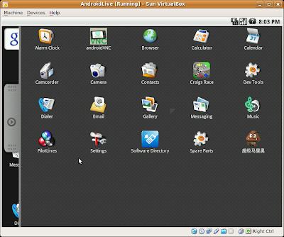 live-android 0.3 run on Sun VirtualBox 3.0.4