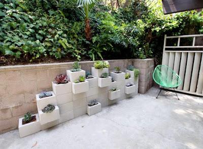 jardinera de bloques de cemento