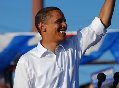 Barack Obama waving to the crowd at the Colorado State Fairgrounds rally in Pueblo, Colorado