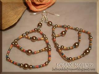 pendientes escalones perlas y rocallas