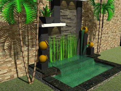Desain Kebun Rumah Minimalis on Design Rumah Murah  Taman Air Modifikasi Tempayan