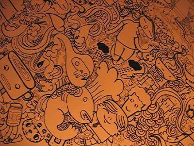 cartoons on Pino restaurant's wall