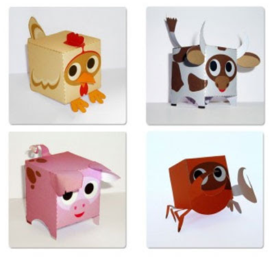 Cute box shape animal papercraft