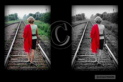 retouche photo portrait femme sur chemin de fer