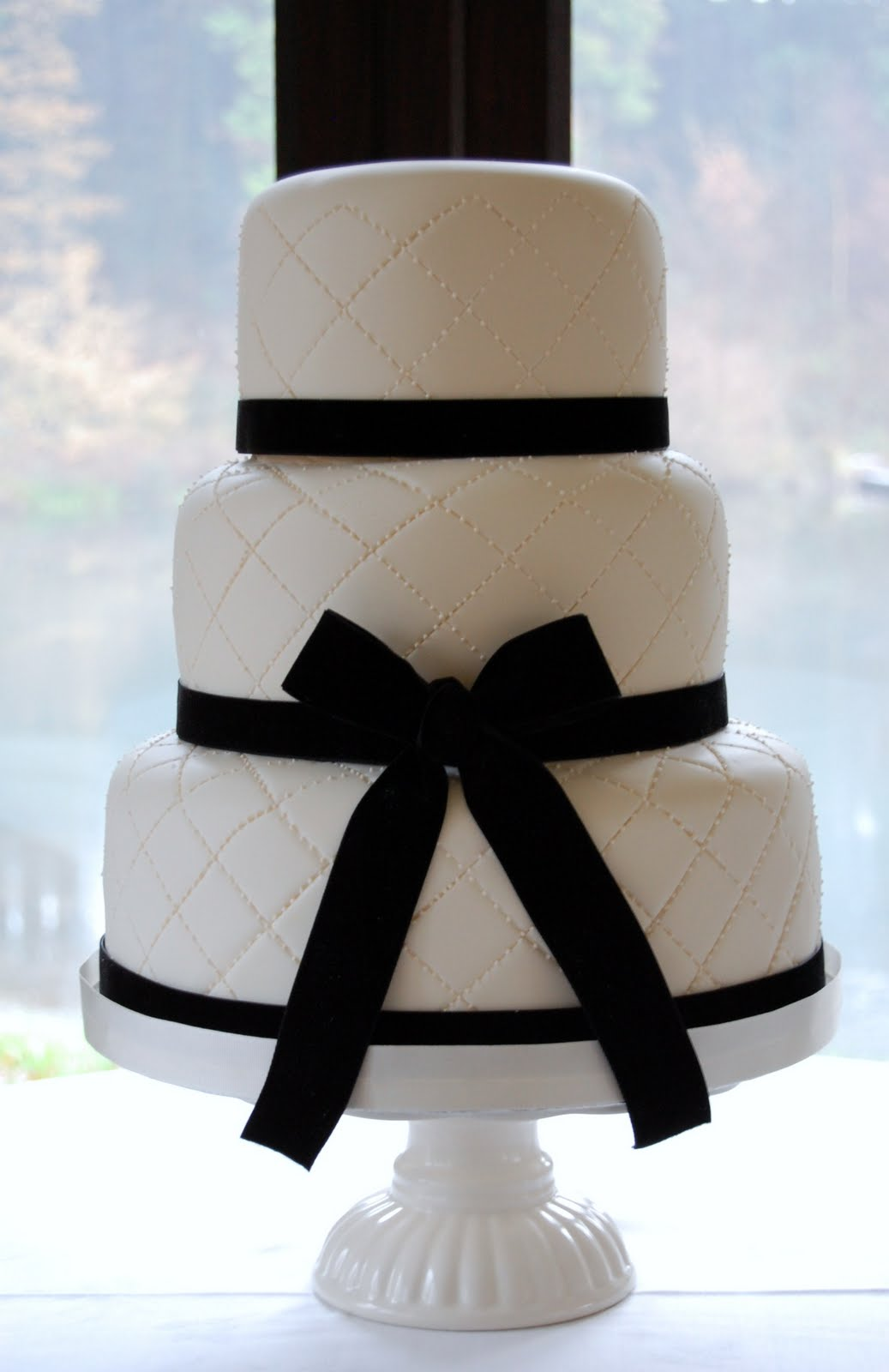 iced Becky and Andrew s Elegant Ivory and Black Wedding Cake