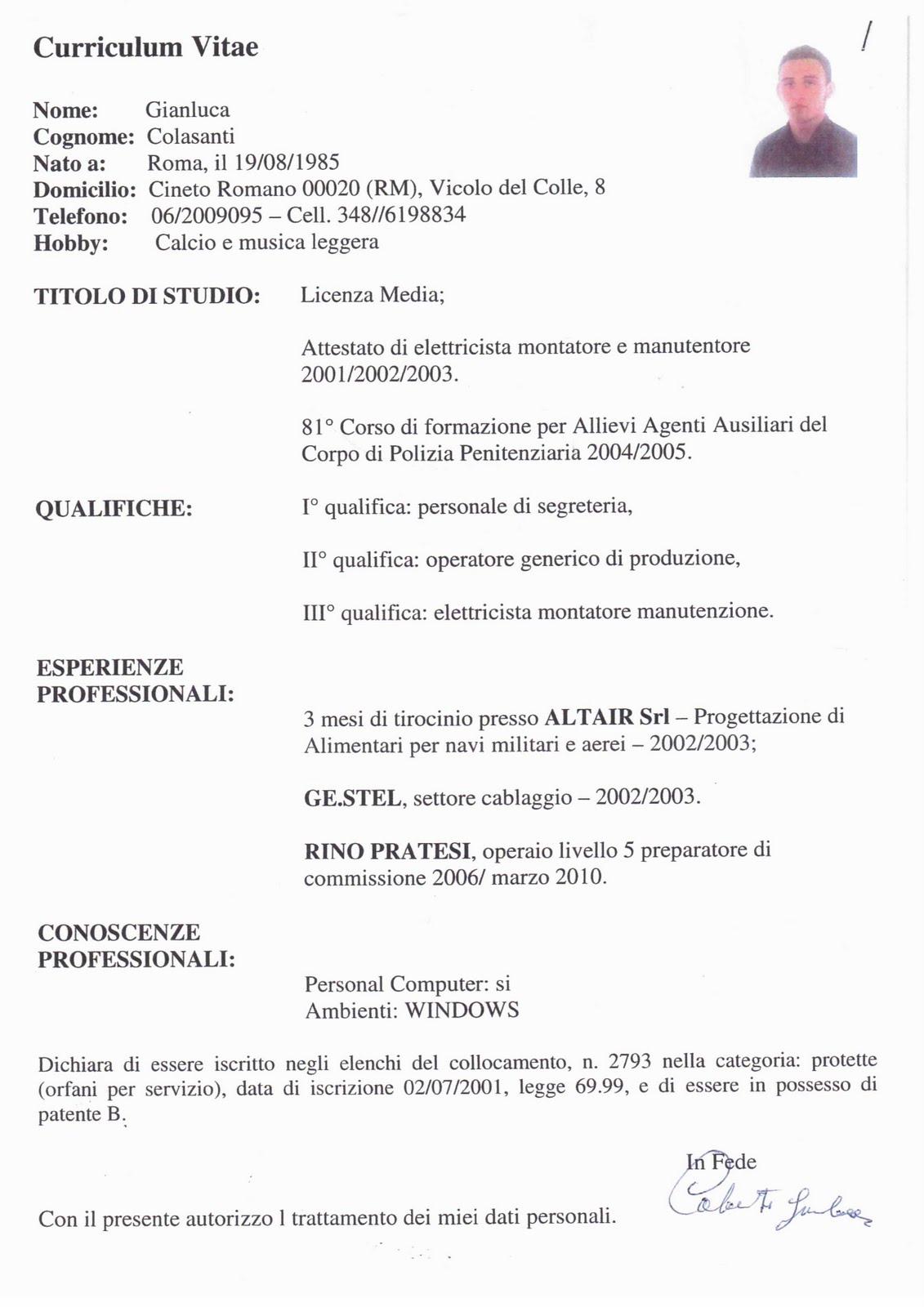 SIDI Sindacato Italiano Diritti Invalidi Curriculum Gianluca Colasanti