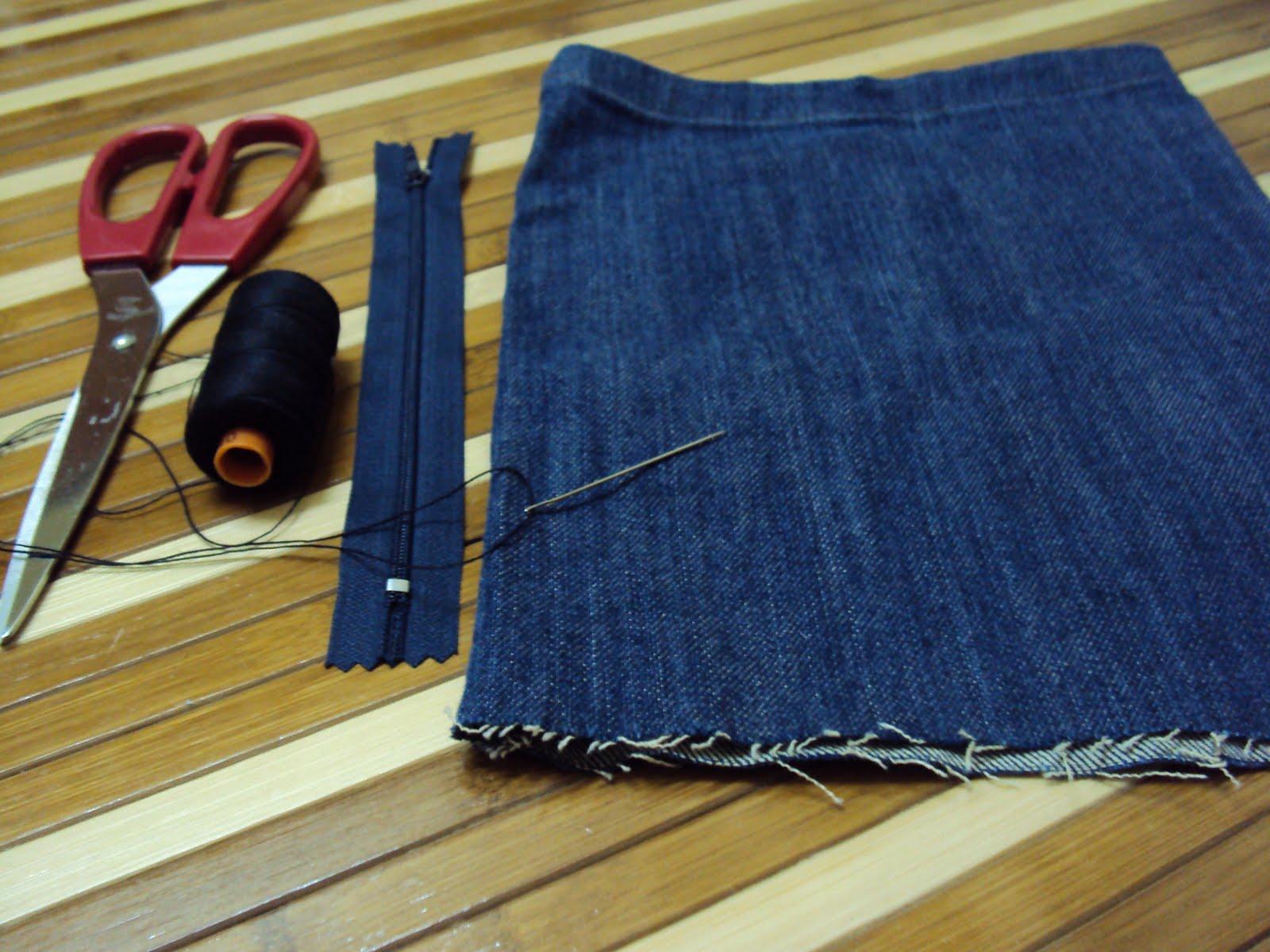 gunting, jarum, benang, zip & satu bahagian kaki seluar jeans yg dah x ...