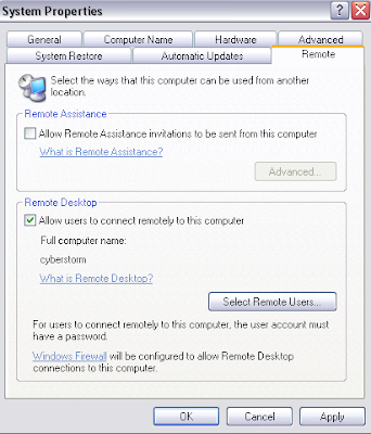 how to enable remote desktop on Windows XP