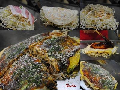 Hiroshima-style Okonomiyaki from Okonomimura in Hiroshima