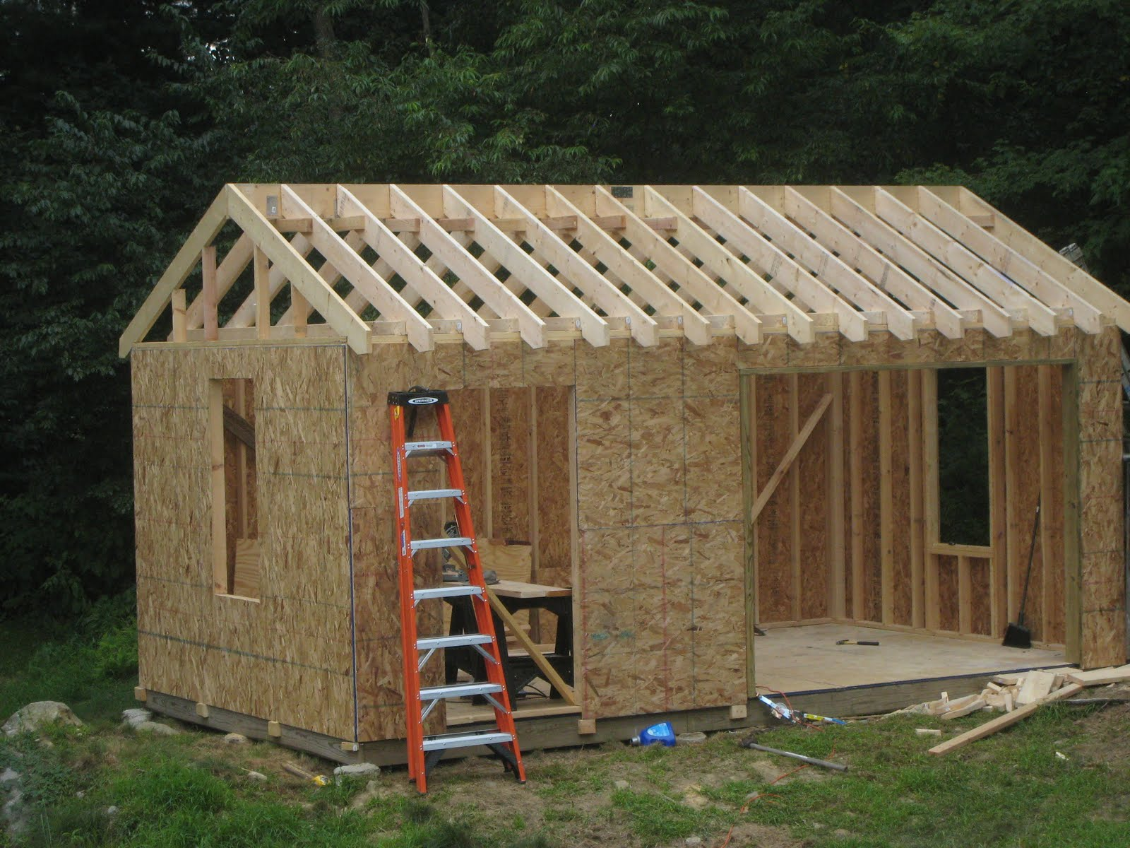 Donn 10 x 12 shed plans w garage door for 12x12 roll up garage door