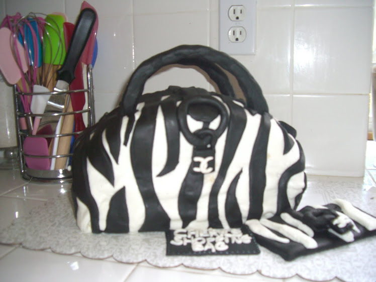 ZEBRA PRINT PURSE CAKE WITH MATCHING WALLET