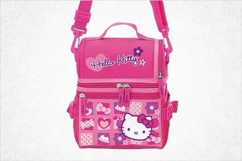 Hello Kitty Nylon School Lunch Box Bag Tote Black