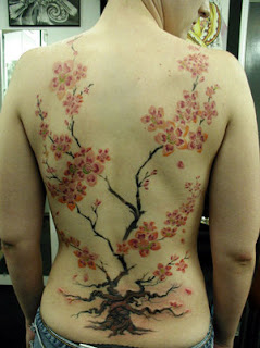 Women Back Piece Japanese Cherry Blossom Tattoos Picture 1