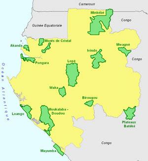 Mapa con los parques nacionales de Gabón