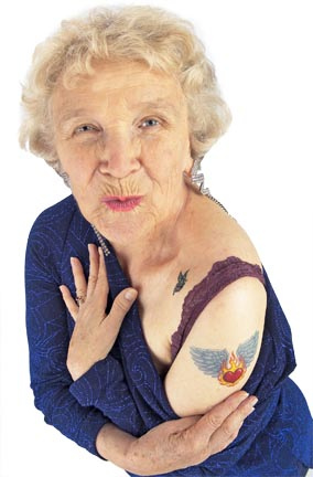 Old Lady with Tattoos
