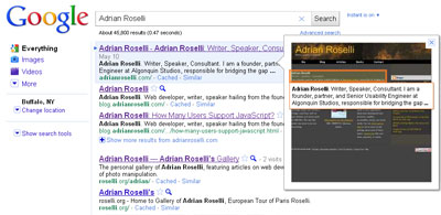 Google Instant Preview showing how my site appears when using my name as the search term.