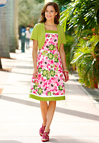 Catos Fashions  Sizes on Pink And Green Summer Dress