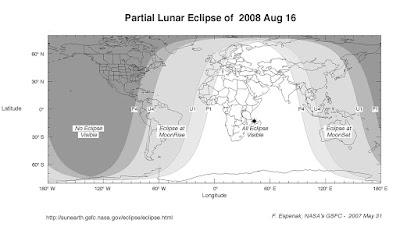 Gráfico de la visibilidad del eclipse