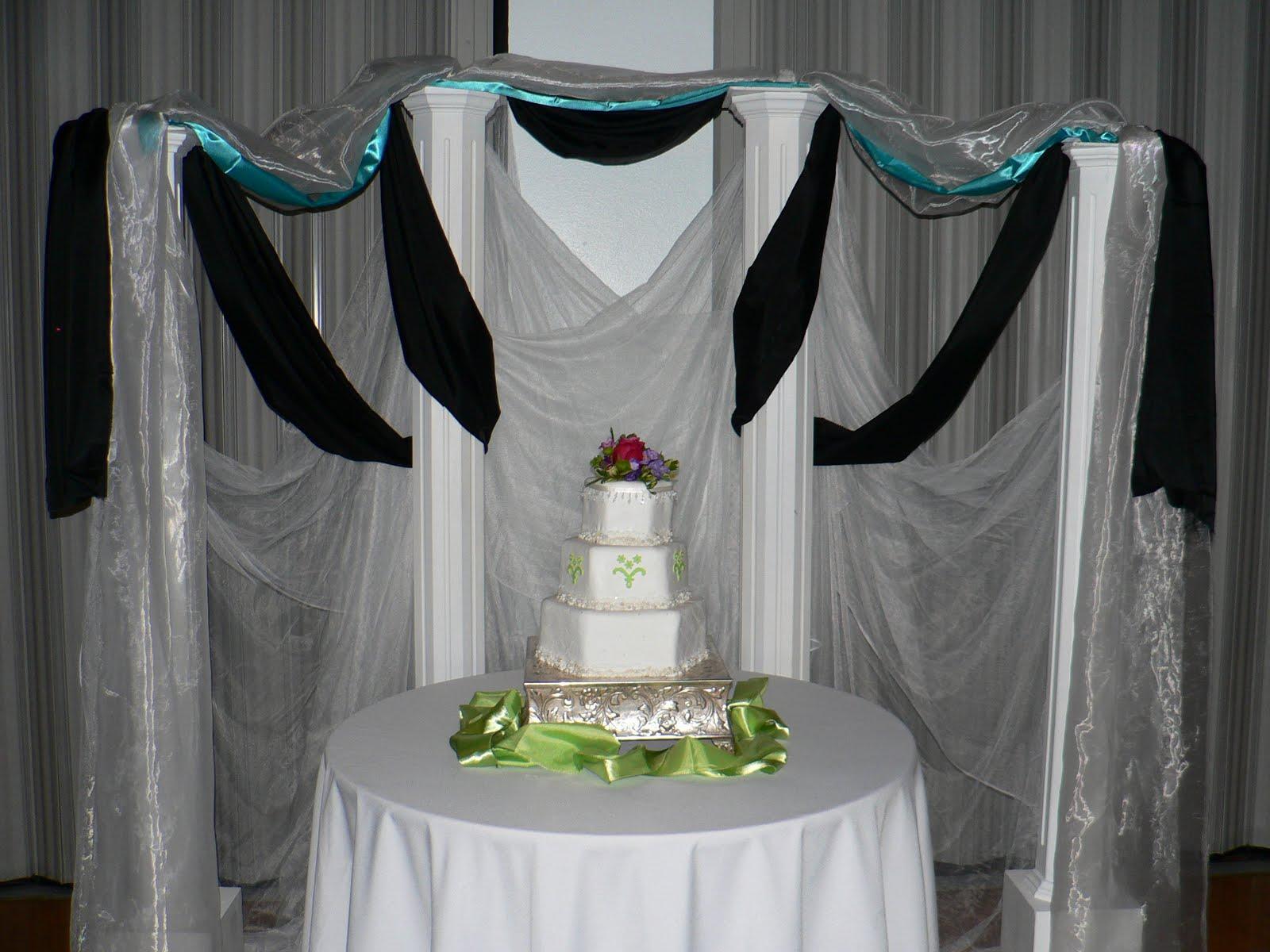pin cake table backdrop draping wedding cake on