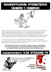 GIOVEDI' 5 FEBBRAIO: MANIFESTAZIONE STUDENTESCA