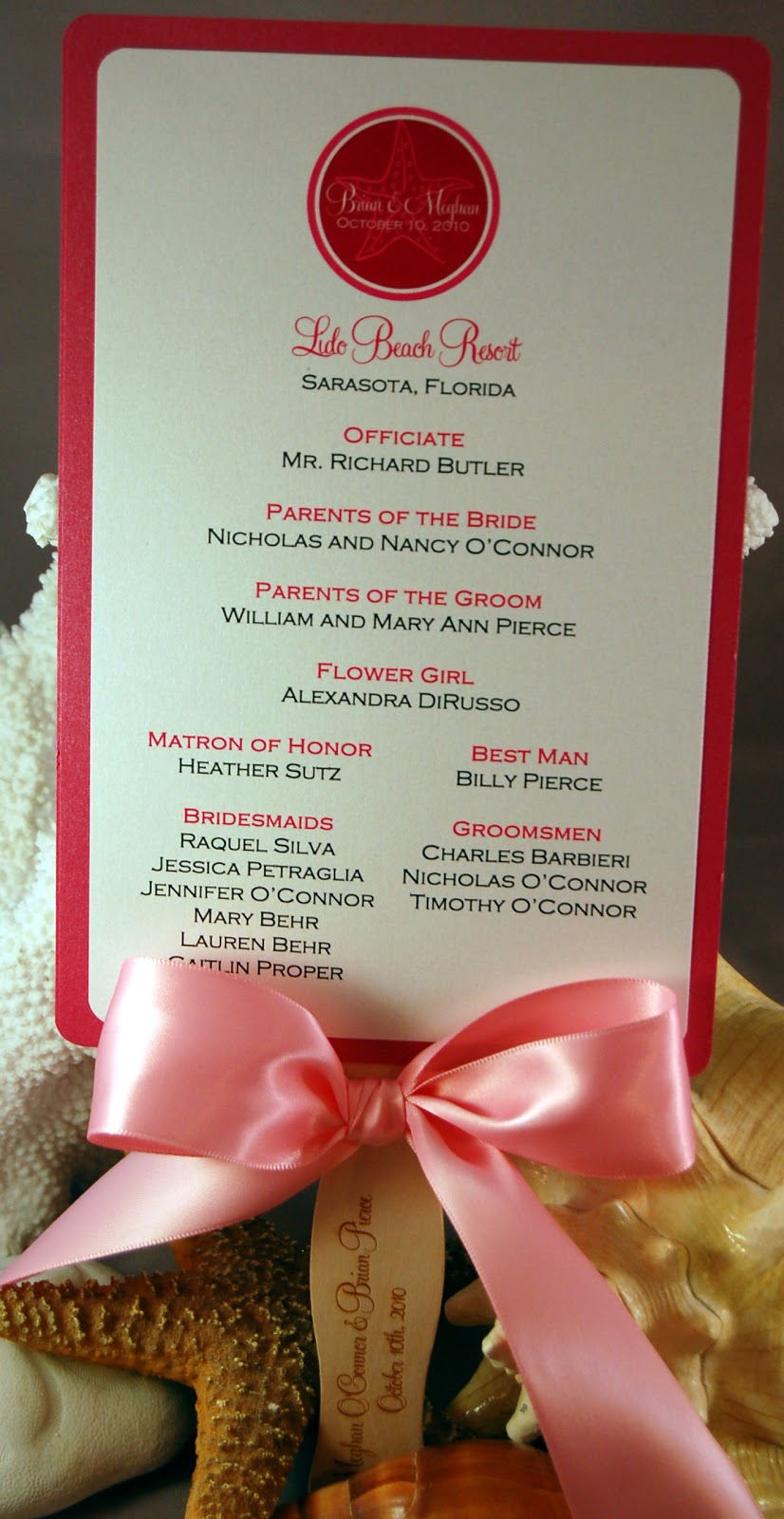 Fine Prints: Meg\'s Star Fish Wedding Accesories - Program Fans ...