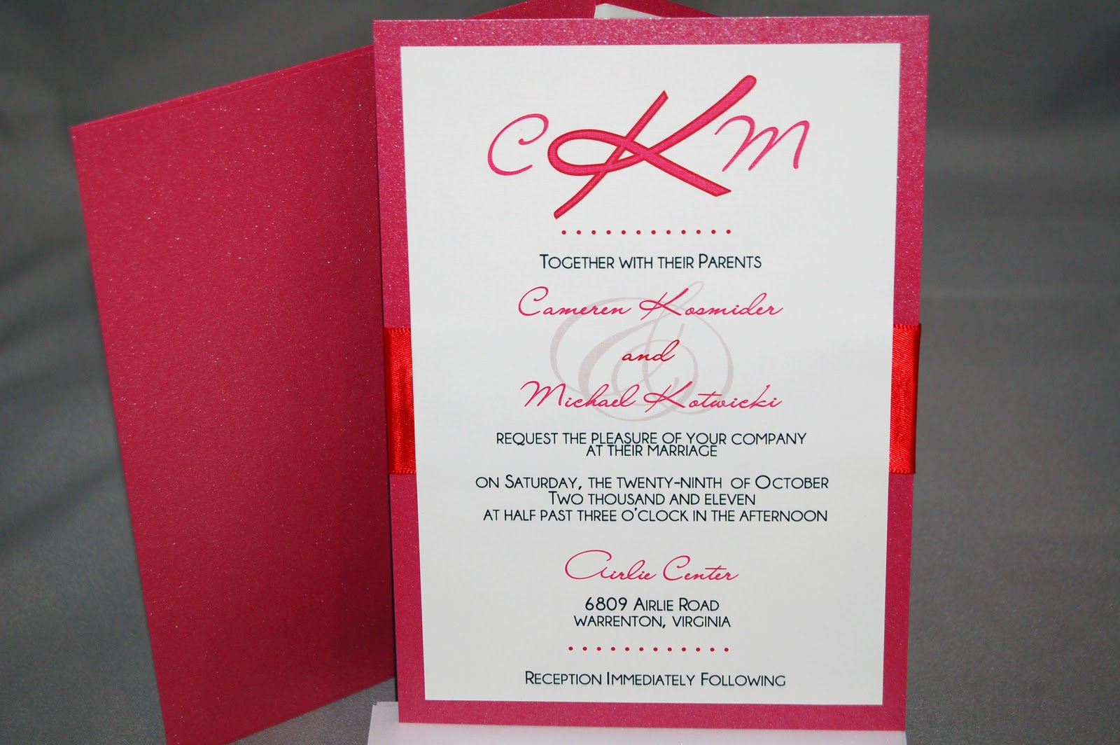 Fine Prints: Cami\'s Dark Pink and Red Wedding Invitations Featuring ...