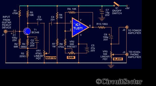 Guitar Preamplifier Circuit Using IC TL071   Top Circuits