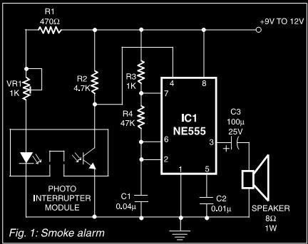 Smoke       Alarm    Using 555   circuit harness wiring