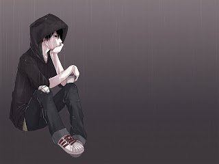 Lonely Emo Boy Sitting in the Rain wallpaper