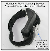 PJ1004: Horizontal Flash Mounting Bracket - Shown with Minimal Height, Non-Locking Foot