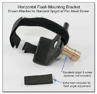 PJ1006: Horizontal Flash Mounting Bracket - Shown Attached to Standard Spigot w/ Pan Head Screw