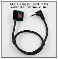 LT1017: Stick-On Trigger - Dual Switch: Single Plug for Half Press (red), Full Press (black)