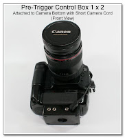 PT1028: Pre-Trigger Control Box 1 x 2 - Attached to Camera Bottom with Short Camera Cord (Front View)