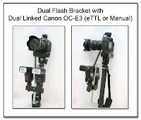 DF1001: Dual Flash Bracket (Monopod Under Camera Mount) with Dual Linked Hot Shoes to ScrewLock PC Plug for Manual Flash