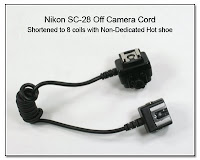 OC1039: Nikon SC-28 Off Camera Cord - Shortened to 8 coils with Non-Dedicated Hot Shoe on the Camera End of the OCC