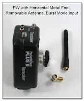 PJ1046: PW with Horizontal Metal Foot, Removable Antenna, and Burst Mode Input