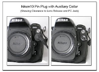 PJ1021: Nikon 10 Pin Plug with Auxiliary Collar - Showing Clerance to Lens Release and PC Jack