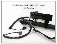 DF1029: Single / Dual Battery Pack Holder - Monopod Version with Batteries