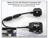 OC1010: Canon OC-E3 with Mini-DIN Connector Set, Dedicated Hot Shoe, and 3-Position Selector Switch to Activate One or Both Hot Shoes